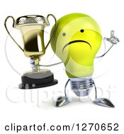 Clipart Of A 3d Unhappy Yellow Light Bulb Character Holding Up A Finger And A Trophy Cup Royalty Free Illustration