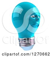 Clipart Of A 3d Unhappy Blue Light Bulb Character Facing Right Royalty Free Illustration