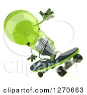Clipart Of A 3d Green Light Bulb Character Skateboarding Royalty Free Illustration