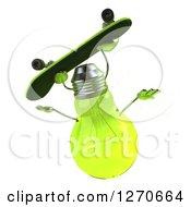 Clipart Of A 3d Green Light Bulb Character Doing A Flip While Skateboarding Royalty Free Illustration