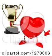 Clipart Of A 3d Heart Character Shrugging And Holding A Trophy Royalty Free Illustration