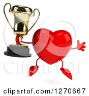 Clipart Of A 3d Heart Character Jumping And Holding A Trophy Royalty Free Illustration
