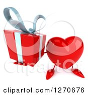 Clipart Of A 3d Heart Character Holding Up A Gift Royalty Free Illustration
