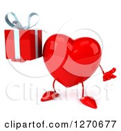 Clipart Of A 3d Heart Character Shrugging And Holding A Gift Royalty Free Illustration