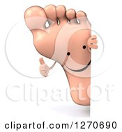 Clipart Of A 3d Happy Foot Character Giving A Thumb Up Around A Sign Royalty Free Illustration by Julos