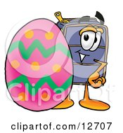 Clipart Picture Of A Suitcase Cartoon Character Standing Beside An Easter Egg by Toons4Biz