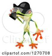 Clipart Of A 3d Argie Frog Wearing Sunglasses Facing Left And Talking On A Smart Phone Royalty Free Illustration