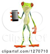 Clipart Of A 3d Argie Frog Holding A Smart Phone Royalty Free Illustration