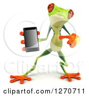 Clipart Of A 3d Argie Frog Holding And Pointing To A Smart Phone Royalty Free Illustration