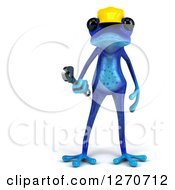 Clipart Of A 3d Blue Contractor Springer Frog Wearing A Hardhat And Holding A Wrench Royalty Free Illustration by Julos