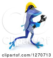 Clipart Of A 3d Blue Contractor Springer Frog Wearing A Hardhat And Walking With A Wrench Royalty Free Illustration by Julos