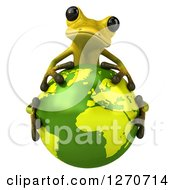 Clipart Of A 3d Light Green Frog Hugging Planet Earth Royalty Free Illustration