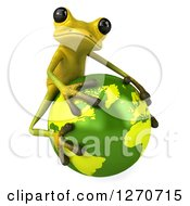 Clipart Of A 3d Light Green Frog Hugging Planet Earth 2 Royalty Free Illustration