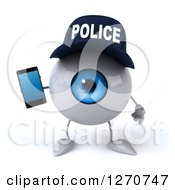 Clipart Of A 3d Blue Police Eyeball Character Jumping With A Cell Phone Royalty Free Illustration