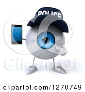 Clipart Of A 3d Blue Police Eyeball Character Holding And Pointing To A Cell Phone Royalty Free Illustration