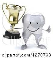 Clipart Of A 3d Happy Tooth Character Holding A Thumb Up And A Trophy Royalty Free Illustration