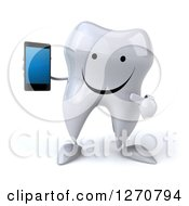Clipart Of A 3d Happy Tooth Character Holding And Pointing To A Smart Phone Royalty Free Illustration