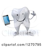 Clipart Of A 3d Happy Tooth Character Holding Up A Finger And A Smart Phone Royalty Free Illustration