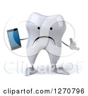 Clipart Of A 3d Unhappy Tooth Character Holding A Smart Phone And Gesturing Call Me Royalty Free Illustration