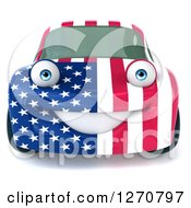 Clipart Of A 3d Happy American Flag Porsche Car Character Facing Forward Royalty Free Illustration