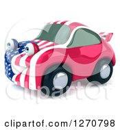 Clipart Of A 3d Happy American Flag Porsche Car Character Facing Left Royalty Free Illustration