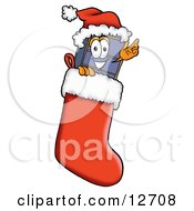 Suitcase Cartoon Character Wearing A Santa Hat Inside A Red Christmas Stocking