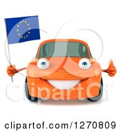 Clipart Of A 3d Orange Car Holding A European Flag And Thumb Up Royalty Free Illustration