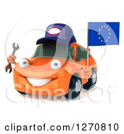 Clipart Of A 3d Orange Mechanic Car Holding A Wrench And European Flag Royalty Free Illustration