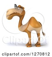 Clipart Of A 3d Bespectacled Camel Facing Left Royalty Free Illustration