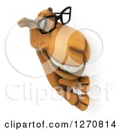 Clipart Of A 3d Bespectacled Camel Smiling Around A Sign Royalty Free Illustration