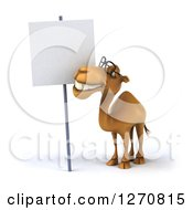 Clipart Of A 3d Bespectacled Camel Smiling Up At A Blank Sign Royalty Free Illustration