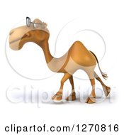 Clipart Of A 3d Bespectacled Camel Walking To The Left Royalty Free Illustration