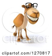 Clipart Of A 3d Bespectacled Camel Walking Royalty Free Illustration