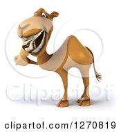 Clipart Of A 3d Camel Facing To The Left And Eating A Waffle Ice Cream Cone Royalty Free Illustration