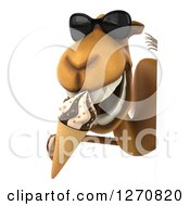 Clipart Of A 3d Camel Wearing Sunglasses And Eating A Waffle Ice Cream Cone Around A Sign Royalty Free Illustration