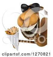 Clipart Of A 3d Camel Wearing Sunglasses And Holding A Container Of French Fries Around A Sign Royalty Free Illustration
