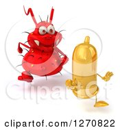 Clipart Of A 3d Red Germ STD Chasing A Condom Royalty Free Illustration