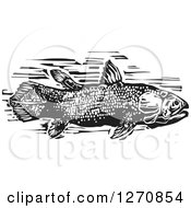 Clipart Of A Black And White Woodcut Coelacanth Fish Royalty Free Vector Illustration