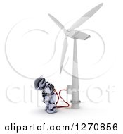 Clipart Of A 3d Robot Charging At A Windmill On A White Background Royalty Free Illustration