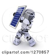 3d Robot Holding Up A Solar Panel On A White Background
