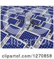 Clipart Of A 3d Robot Holding His Arms Out In A Field Of Solar Panels Royalty Free Illustration