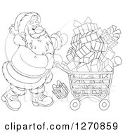 Clipart Of A Black And White Christmas Santa Claus Pushing A Shopping Cart Full Of Gifts Royalty Free Vector Illustration