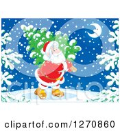 Clipart Of A Christmas Santa Claus Carrying A Tree On A Snowy Night Royalty Free Vector Illustration