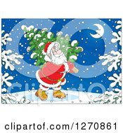 Clipart Of A Christmas Santa Carrying A Tree On A Snowy Night Royalty Free Vector Illustration