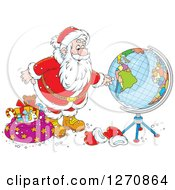 Clipart Of A Christmas Santa Looking At A Globe Royalty Free Vector Illustration
