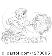 Clipart Of A Black And White Christmas Santa Claus Looking At A Globe Royalty Free Vector Illustration