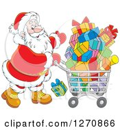 Clipart Of A Christmas Santa Pushing A Shopping Cart Full Of Gifts Royalty Free Vector Illustration