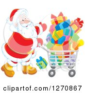 Clipart Of A Christmas Santa Claus Pushing A Shopping Cart Full Of Gifts Royalty Free Vector Illustration