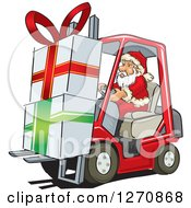 Clipart Of Santa Claus Moving Big Christmas Gifts On A Forklift Royalty Free Vector Illustration