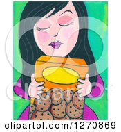 Clipart Of A Canvas Painting Of A Black Haired Woman Hugging A Box Of Cookies Royalty Free Illustration